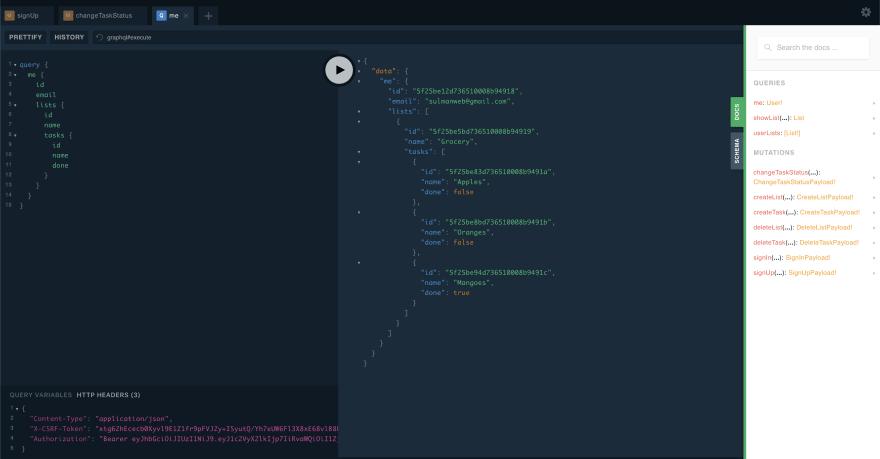 Final GraphQL API View
