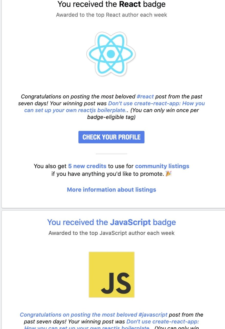 Image of react and javascript badge