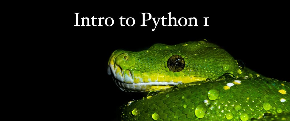 Cover image for Intro to Python Pt. #1