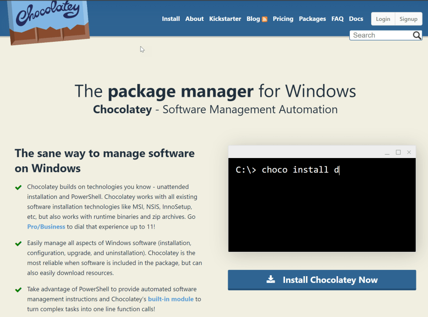 Chocolatey, a better way to install software on windows - DEV