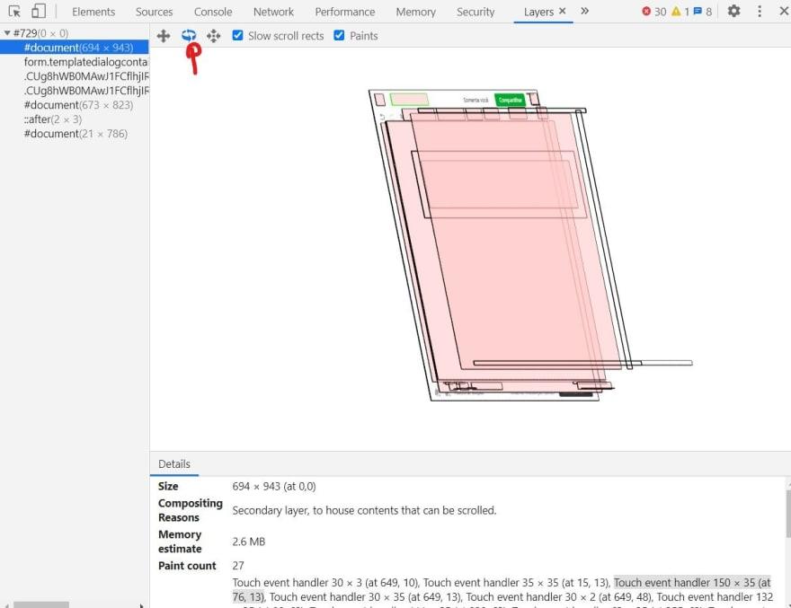 Página sendo visualizada em perspectiva pelo painel de layers