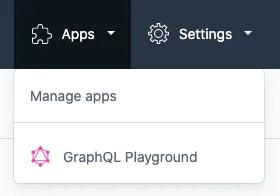 Screenshot of Contentful app navigation showing the GraphQL playground link.