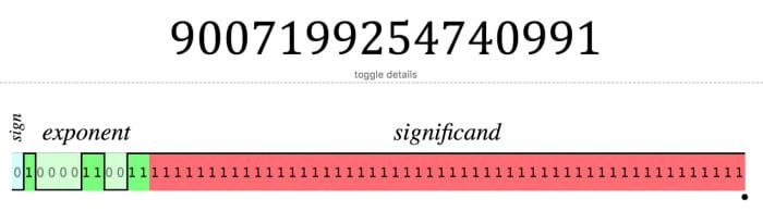 The largest safe integer's floating point representation