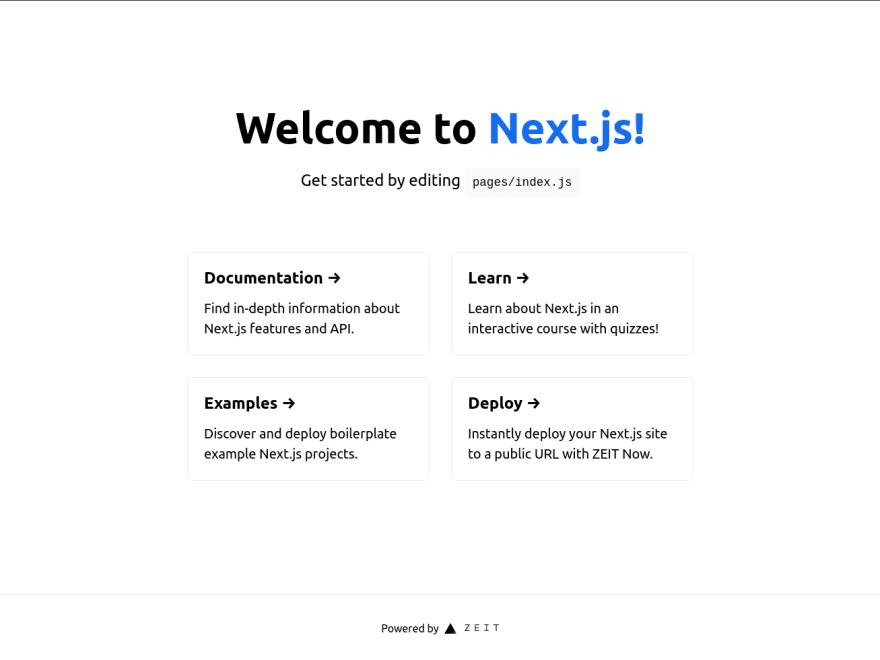 Initial Next.js screen