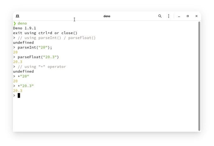 image showing how + operator can be used as an alternative to parseInt & parseFloat