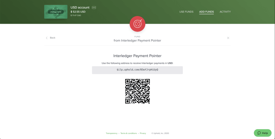 Generate an Interledger Payment pointer from Uphold