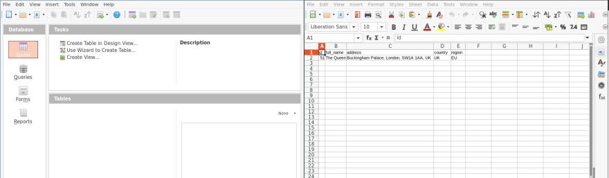 Spreadsheet of data alongside database instance