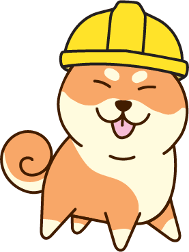a chibi shiba inu smiling and sticking its tongue out with a yellow construction hat