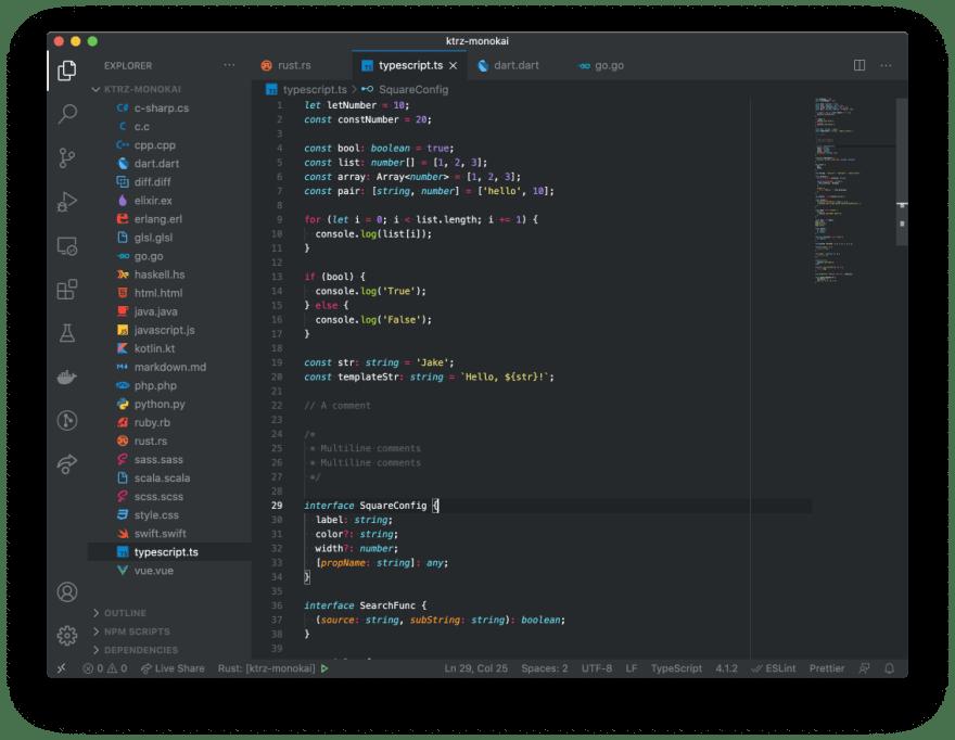 TypeScript syntax highlight screenshot
