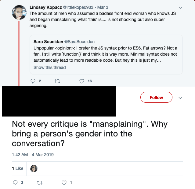 Tweet with the text: Not every critique is mansplaining. Why bring a person's gender into the conversation?