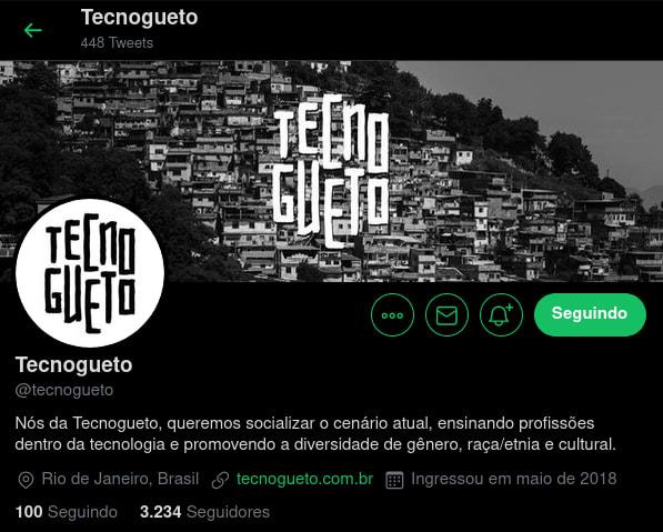 PrintScreen da página de perfil da Tecnogueto