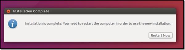 Ubuntu setup and Install - Installation Complete - Restart