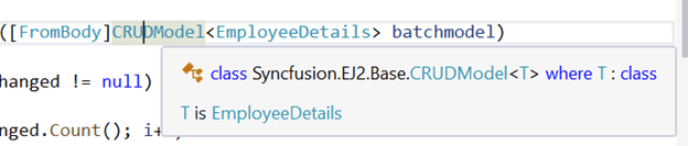 The modal object class CRUDModal is referenced from the library using Syncfusion.EJ2.Base;