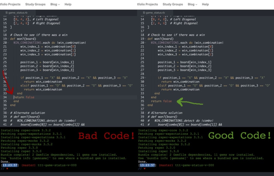 Screen shot of side-by-side code