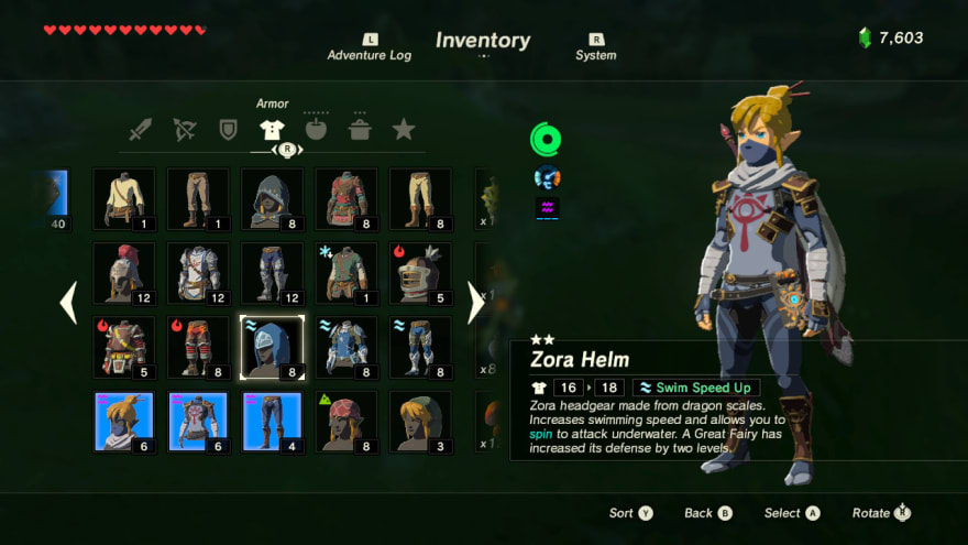 Zelda inventory interface