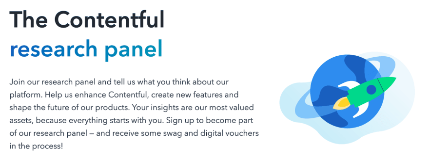 Illustrated graphic of the Contentful research panel, with a message encouraging readers to join