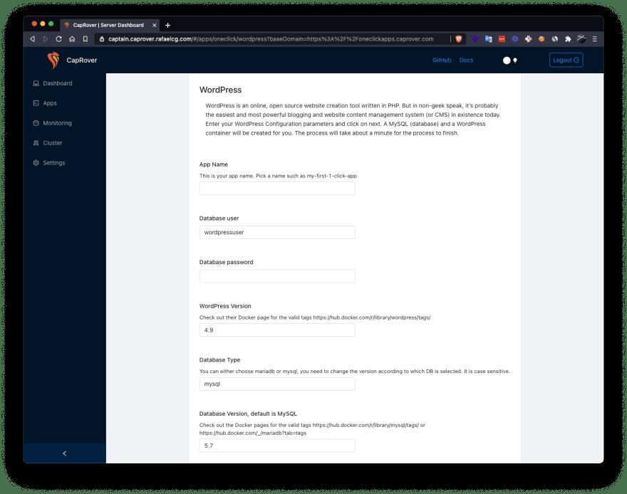 CapRover Wordpress installation