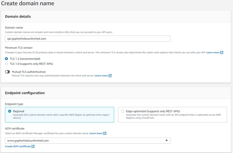 Custom domain configuration in API Gateway