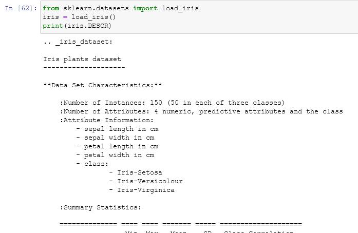 importing the iris dataset from scikit learn default datasets