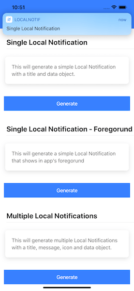 Foreground Local Notification in Ionic 5 app — iOS