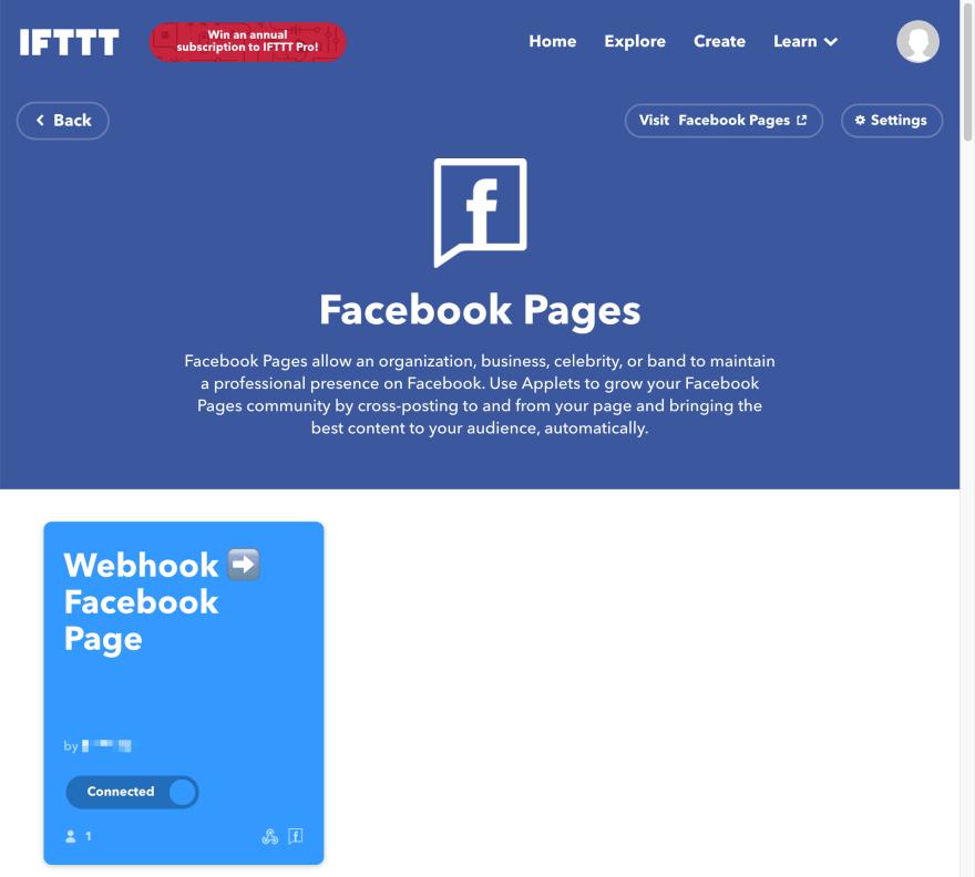 IFTTT Facebook Connecto