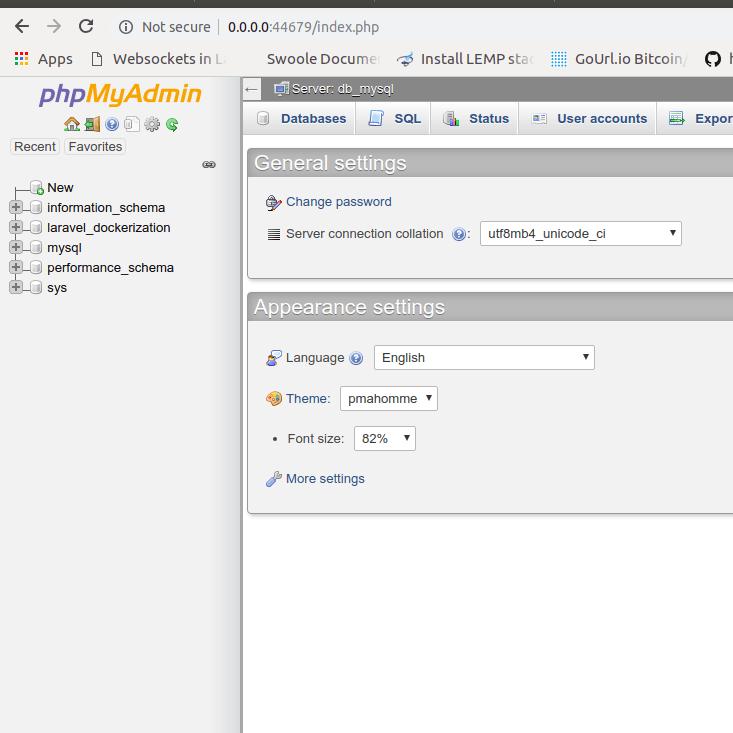 screenshot of phpmyadmin dashboard