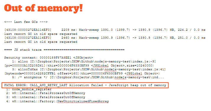Heap out of memory