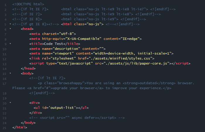 a code example showing HTML