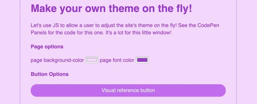 A theme being built from a form on page