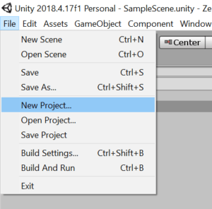 Unity interface New project