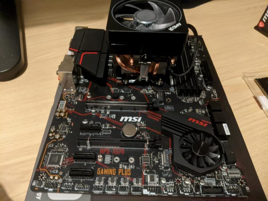 Motherboard with Ryzen 7 3800x installed