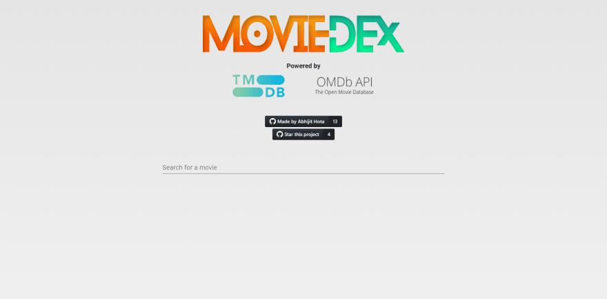 MovieDex full screen desktop