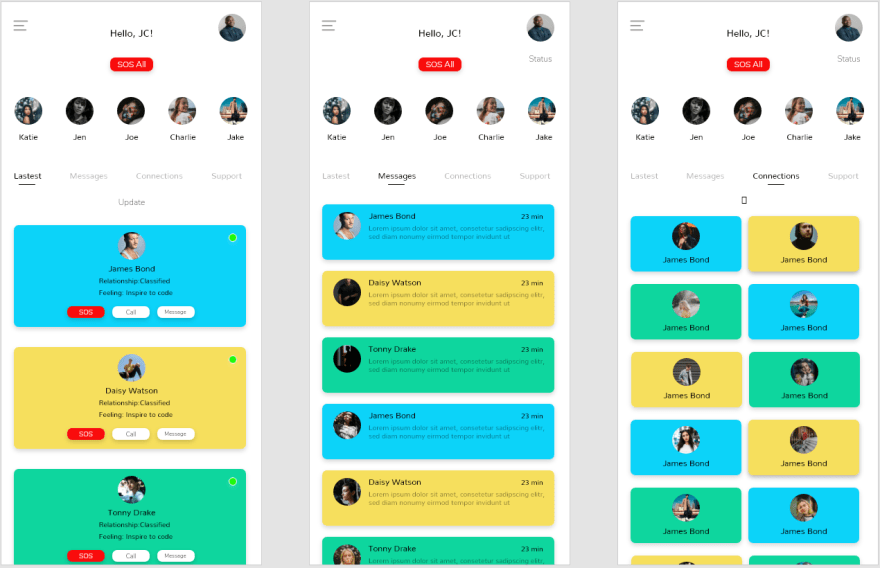 Wireframe of communications pages