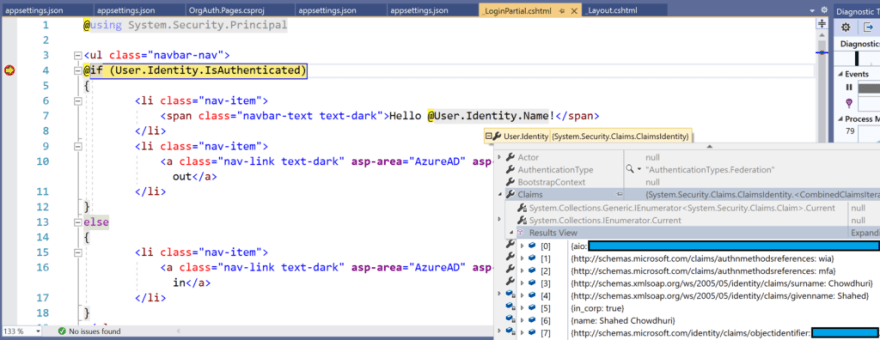 User.Identity.Name with Claims in debugger