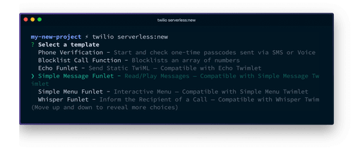 Running the serverless:new command will list out templates you can choose from to create new functions.