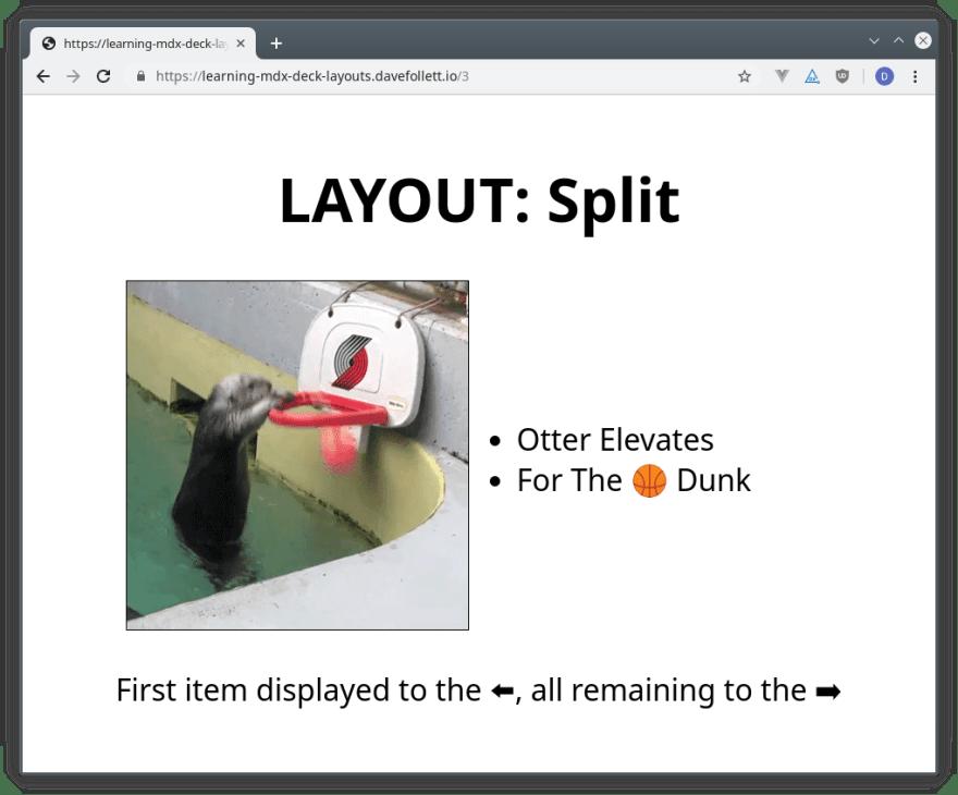 Example of MDX Deck's Split Layout Rendered