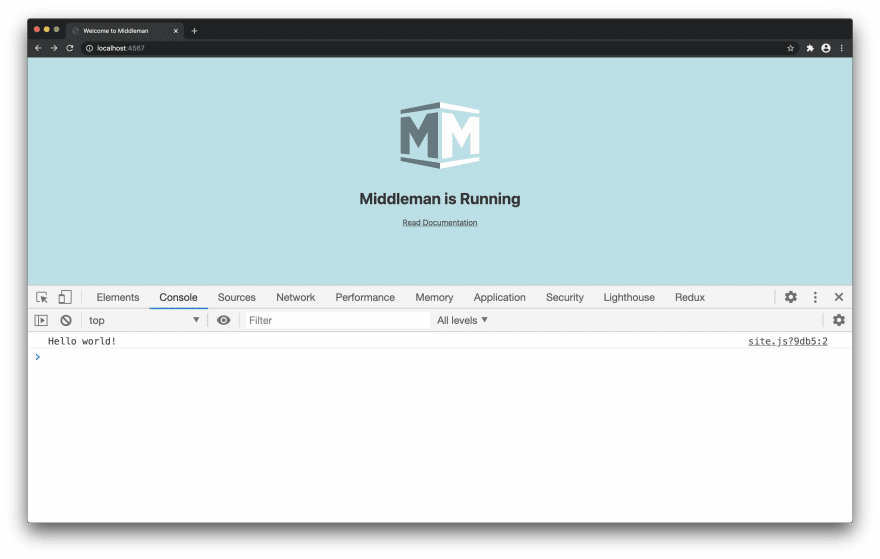 Screenshot of a Middleman app running in a browser at http://localhost:4567/ with dev tools open