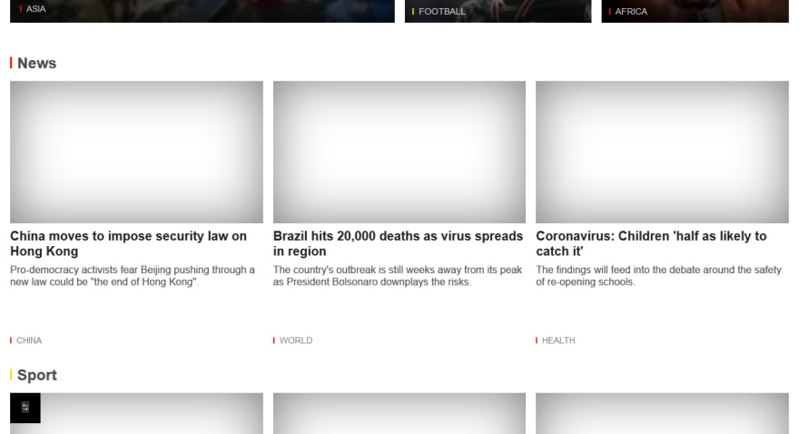 BBC Homepage with JavaScript disabled