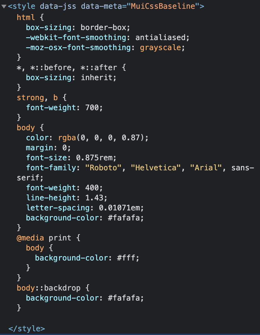 CSS Baseline style tag