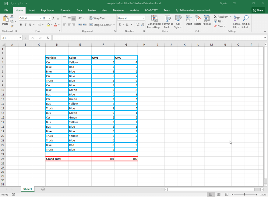Sample Input Microsoft Excel Document containing Data for applying AutoFilter using Aspose.Cells API.