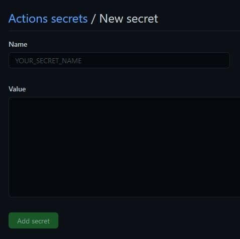 A screenshot of the Secret creation form