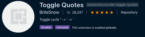 Toggle quotes in the visual studio code store