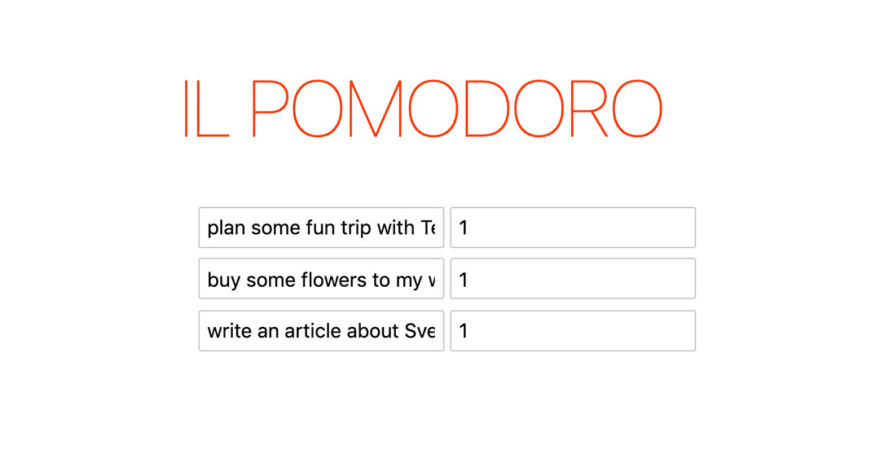 A big Title 'IL POMODORO' followed by a list of editable tasks within input boxes
