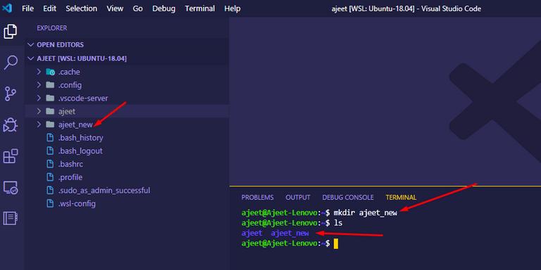 Create folder in WSL VS Code editor