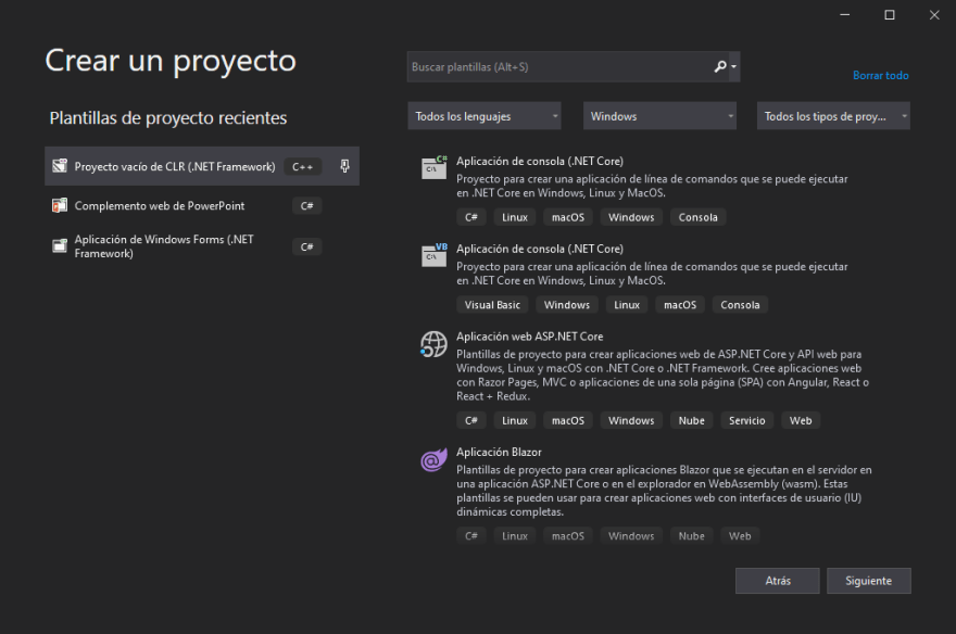 Available project templates