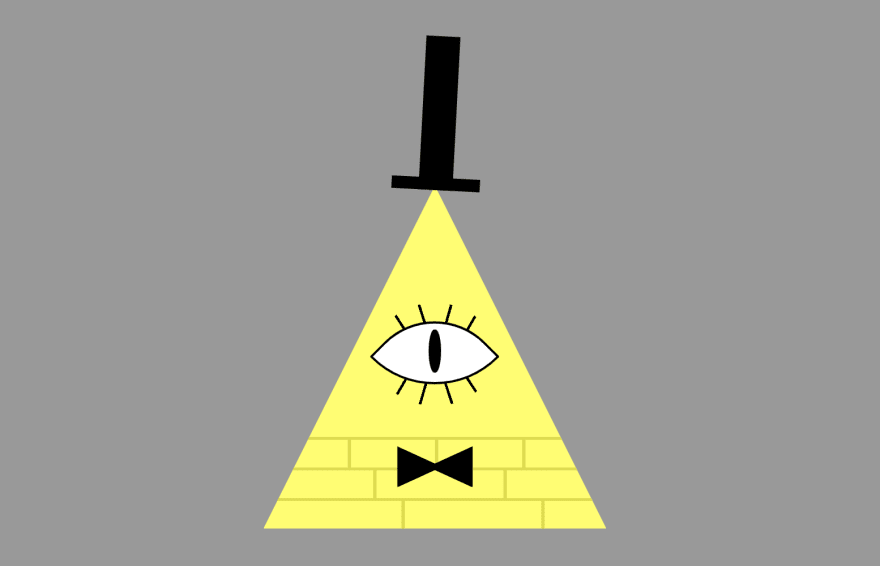 The triangle from before, now with a black top hat