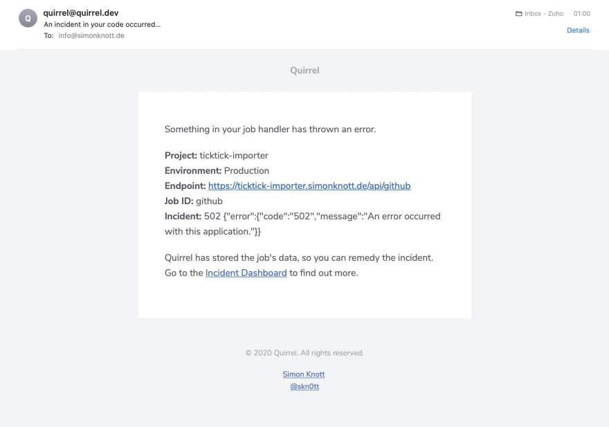 Incident E-Mails
