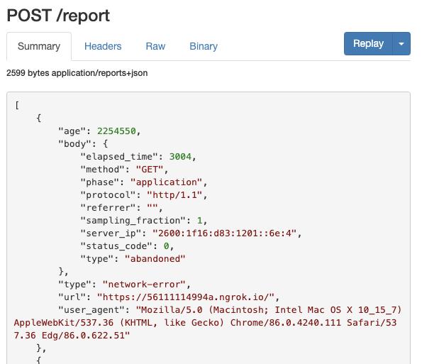 "Example ""abandoned"" error report"