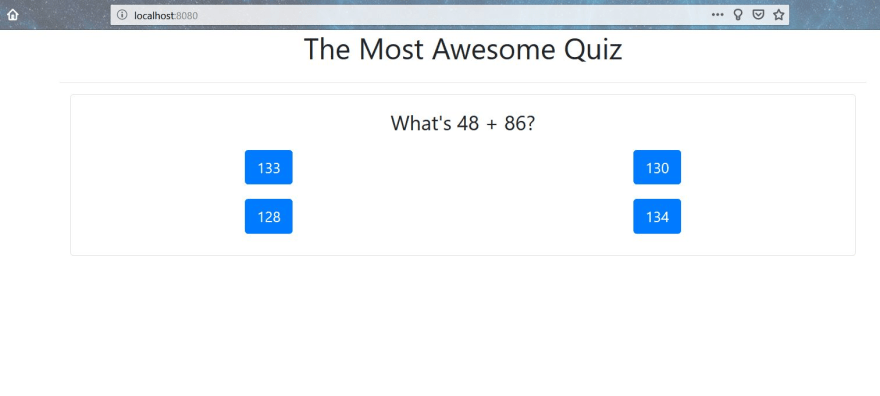 Final result of the quiz app - question and options