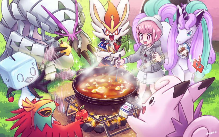 A trainer and several pokemon gathering around a freshly-made pot of curry.